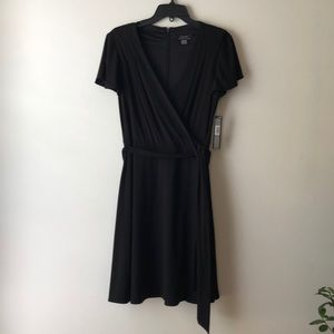 Black crepe wrap dress, new with tags